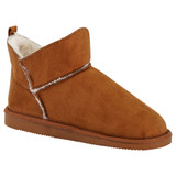 Ladies Tan Microsuede Faux Fur Lined Slipper Boots