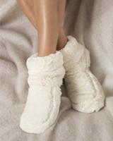 intelex cream fur cozy body microwavable slipper boots