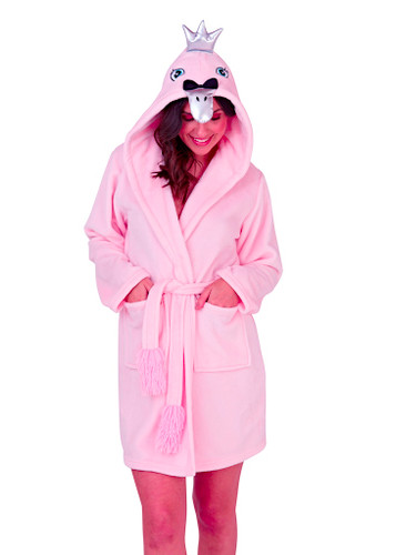 Ladies Luxury Fleece Pink Swan Novelty Hood Short Bath Robe
