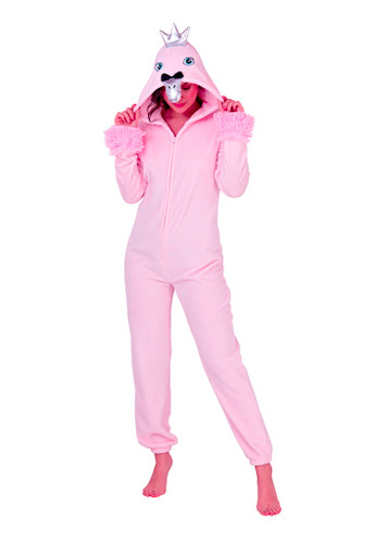 Ladies Novelty 3D Hood Pink Swan Luxury Flannel Fleece Onesie