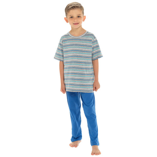 Boys Striped T-Shirt Top & Contrast Long Bottoms PJs Set: Blue