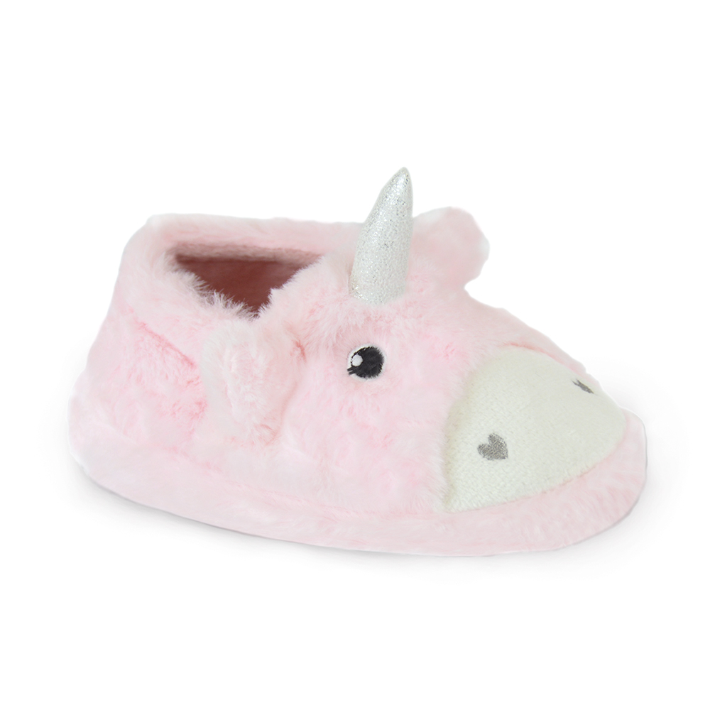Toddler Girls Sleeping Bunny Pink Fleece Moulded Sole Slippers In 7 UK Sizes