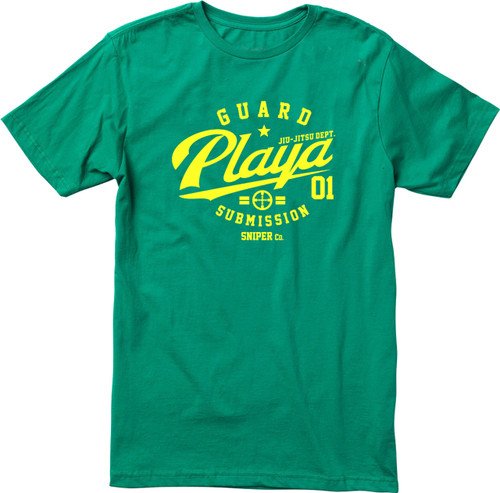 Guard Playa BJJ T-shirt Green Logo (Many Shirt Colours)