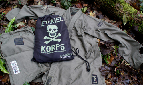 """ Ezekiel Korps"" Limited  Green BJJ GI, Black Ops Design #5"