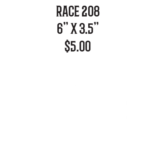 Race 208 Vinyl Decal