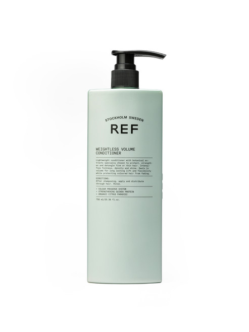 Weightless Volume Conditioner CARE  Lightweight conditioner with botanical extracts specially chosen to protect, strengthen and detangle fine or thin hair. Intensifies fullness, density and shine. Seals in volume for long lasting lift and flexibility while protecting coloured hair from fading.  + COLOUR PRESERVE SYSTEM + STRENGTHENING QUINOA PROTEIN + ORGANIC CITRUS PARADISI  750ml  CRUELTY FREE 100% VEGAN