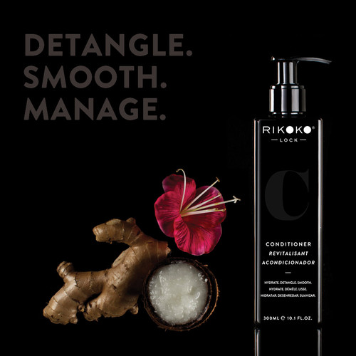 10.1 oz CONDITIONER NOURISHING BLEND OF MATURED COCONUT OIL, INVIGORATING WILD GINGER AND SOFTENING HIBISCUS.