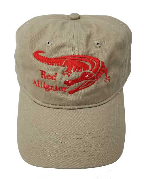 Red Alligator Cap in Khaki