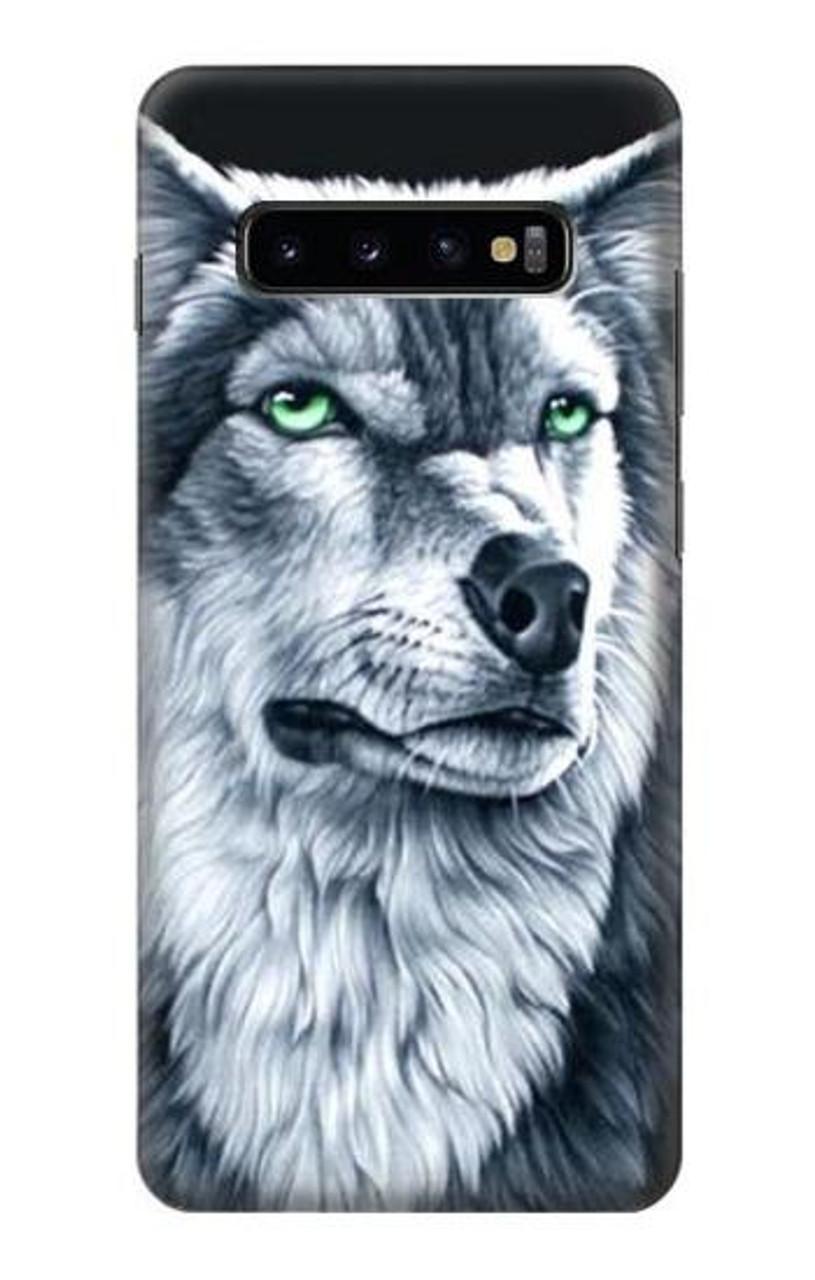S0123 Loup blanc Etui Coque Housse pour Samsung Galaxy S10 Plus