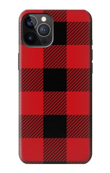 S2931 Rouge Buffle motif de vérification Etui Coque Housse pour iPhone 12, iPhone 12 Pro