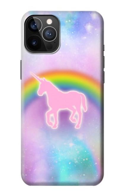 S3070 Arc en ciel pastel ciel Licorne Etui Coque Housse pour iPhone 12, iPhone 12 Pro