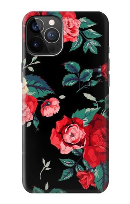 S3112 Motif floral Rose Noir Etui Coque Housse pour iPhone 12, iPhone 12 Pro