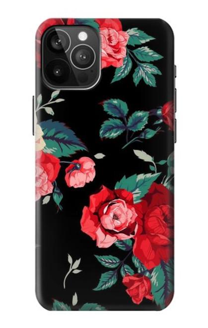 S3112 Motif floral Rose Noir Etui Coque Housse pour iPhone 12 Pro Max