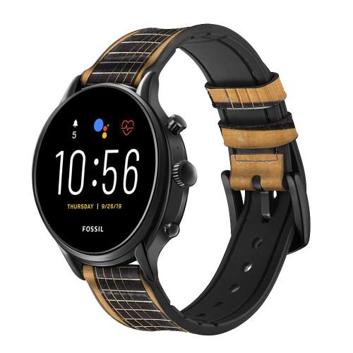 CA0001 Guitare acoustique Bracelet de montre intelligente en cuir et silicone pour Fossil Smartwatch