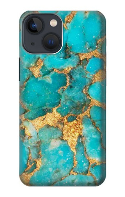 S2906 Aqua Turquoise Pierre Etui Coque Housse pour iPhone 13