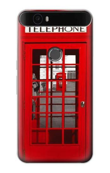 S0058 British Red Telephone Box Etui Coque Housse pour Huawei Nexus 6P