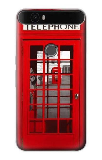 S0058 British Red Telephone Box Etui Coque Housse pour Huawei Nexus 6P