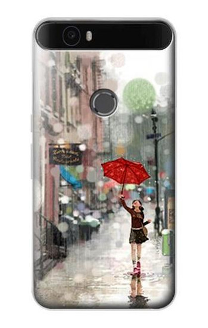 S0108 Girl in The Rain Etui Coque Housse pour Huawei Nexus 6P