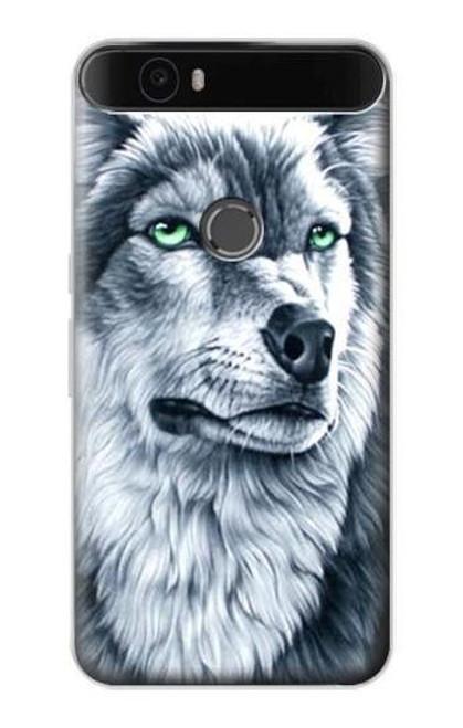 S0123 Grim White Wolf Etui Coque Housse pour Huawei Nexus 6P