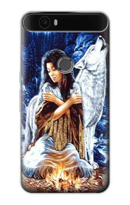 S0147 Grim Wolf Indian Girl Etui Coque Housse pour Huawei Nexus 6P