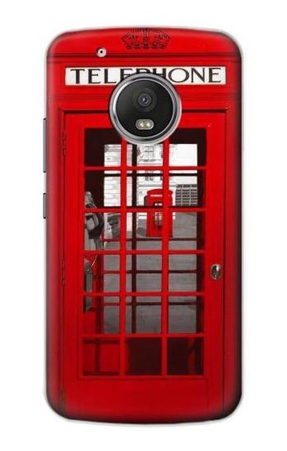 S0058 British Red Telephone Box Etui Coque Housse pour Motorola Moto G5 Plus