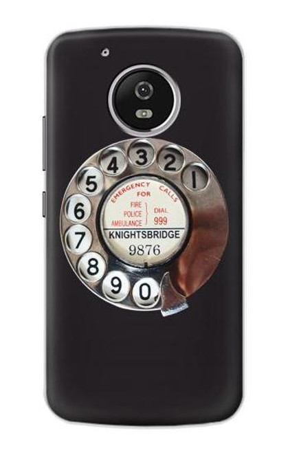 S0059 Retro Rotary Phone Dial On Etui Coque Housse pour Motorola Moto G5