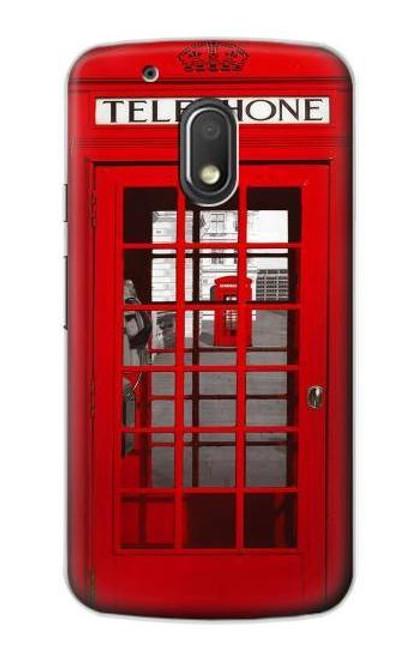 S0058 British Red Telephone Box Etui Coque Housse pour Motorola Moto G4 Play