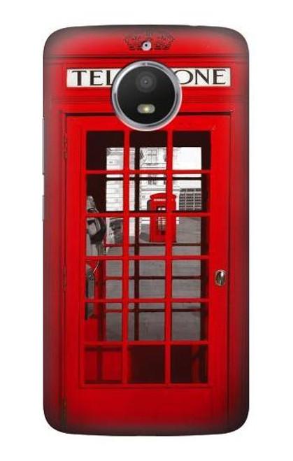 S0058 British Red Telephone Box Etui Coque Housse pour Motorola Moto E4 Plus