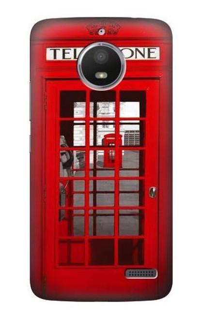 S0058 British Red Telephone Box Etui Coque Housse pour Motorola Moto E4
