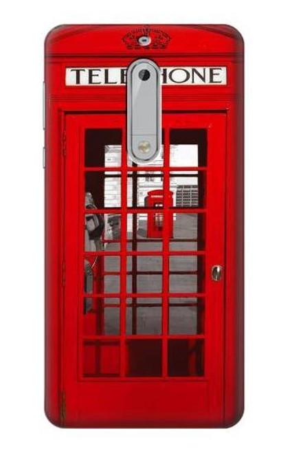 S0058 British Red Telephone Box Etui Coque Housse pour Nokia 5