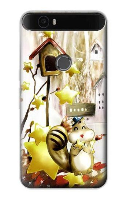 S0109 Cute Squirrel Cartoon Etui Coque Housse pour Huawei Nexus 6P