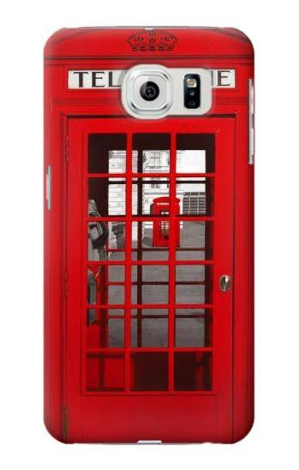 S0058 British Red Telephone Box Etui Coque Housse pour Samsung Galaxy S6
