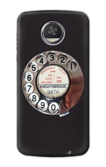 S0059 Retro Rotary Phone Dial On Etui Coque Housse pour Motorola Moto Z2 Play, Z2 Force
