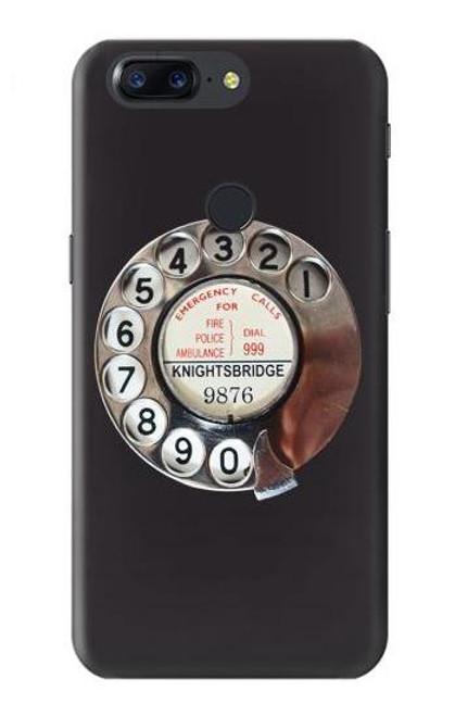 S0059 Retro Rotary Phone Dial On Etui Coque Housse pour OnePlus 5T