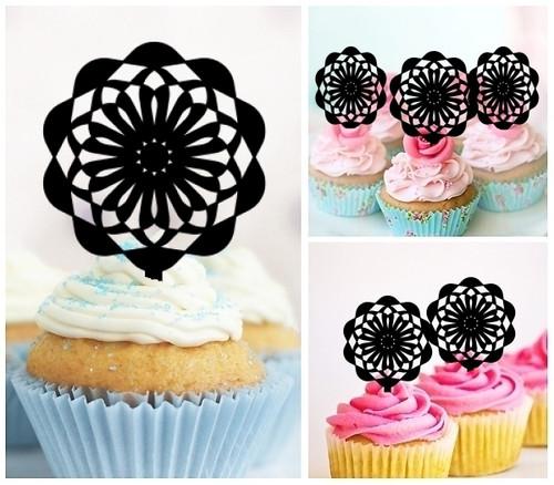 TA0005 Ferris Wheel Cupcake Toppers Acrylique De Mariage Joyeux anniversaire pour Gâteau Partie Décoration 10 Pièces