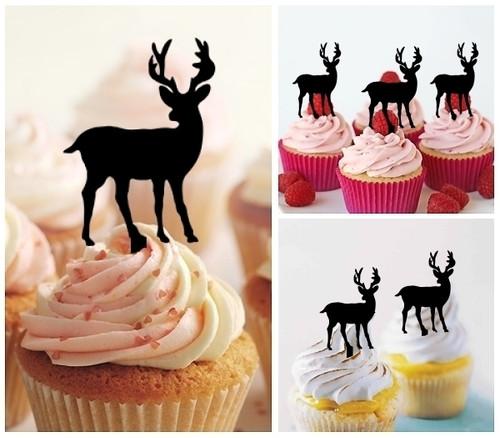 TA0006 Stag Deer Cupcake Toppers Acrylique De Mariage Joyeux anniversaire pour Gâteau Partie Décoration 10 Pièces