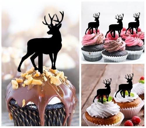 TA0007 Deer Reindeer Cupcake Toppers Acrylique De Mariage Joyeux anniversaire pour Gâteau Partie Décoration 10 Pièces