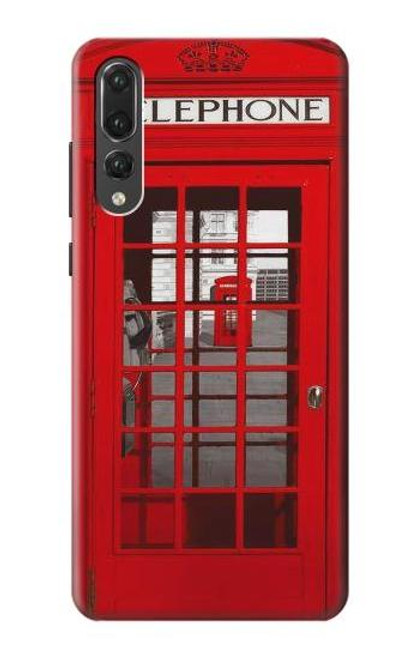 S0058 British Red Telephone Box Etui Coque Housse pour Huawei P20 Pro