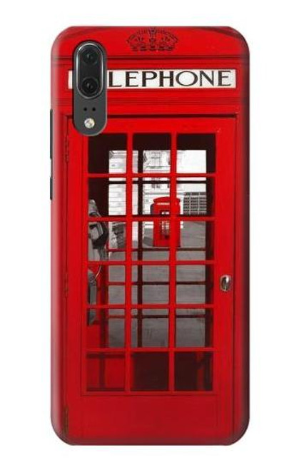 S0058 British Red Telephone Box Etui Coque Housse pour Huawei P20