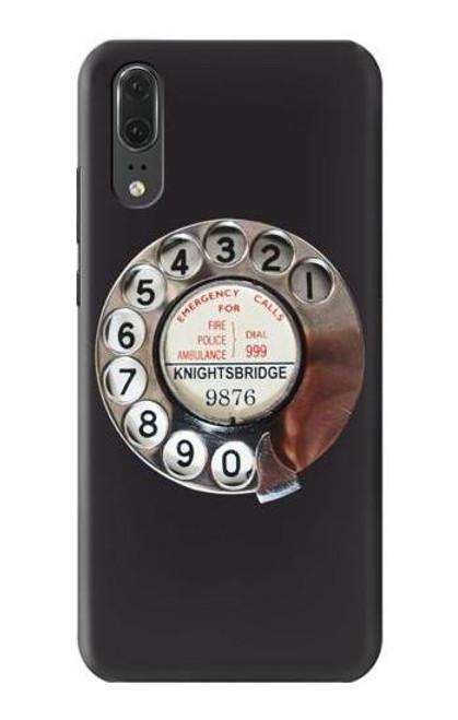 S0059 Retro Rotary Phone Dial On Etui Coque Housse pour Huawei P20