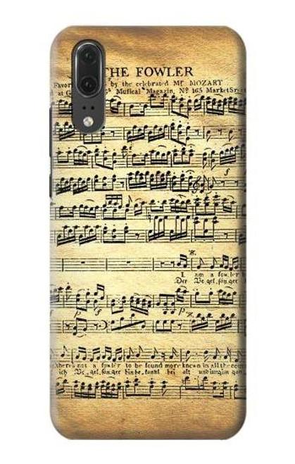 S2667 The Fowler Mozart Music Sheet Etui Coque Housse pour Huawei P20