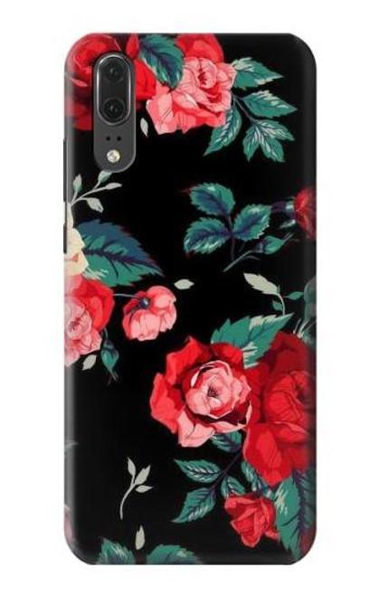 S3112 Rose Floral Pattern Black Etui Coque Housse pour Huawei P20