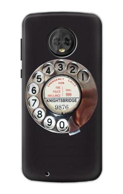 S0059 Retro Rotary Phone Dial On Etui Coque Housse pour Motorola Moto G6