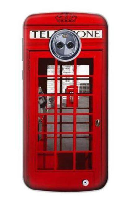 S0058 British Red Telephone Box Etui Coque Housse pour Motorola Moto X4