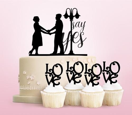 TC0002 Say Yes Wedding Marriage Couple Cake Cupcake Toppers Acrylique De Mariage Joyeux pour Gâteau Partie Décoration 11 Pièces
