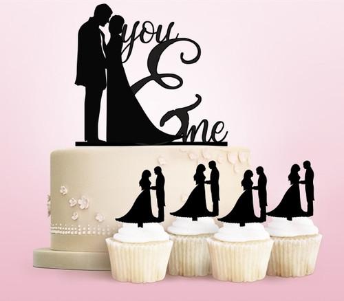 TC0004 You and Me Marry Cake Cupcake Toppers Acrylique De Mariage Joyeux pour Gâteau Partie Décoration 11 Pièces