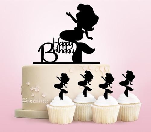 TC0010 Happy Birthday Mermaid Cake Cupcake Toppers Acrylique De Mariage Joyeux pour Gâteau Partie Décoration 11 Pièces
