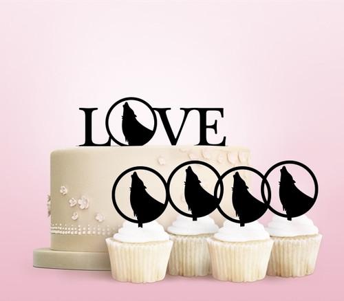 TC0034 Love Wolf Cake Cupcake Toppers Acrylique De Mariage Joyeux pour Gâteau Partie Décoration 11 Pièces
