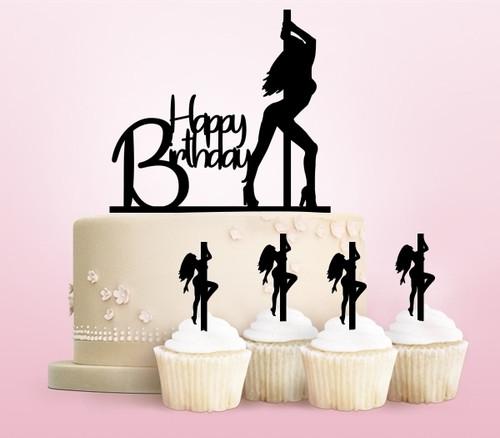 TC0049 Happy Birthday Sexy Pole Dance Girl Cake Cupcake Toppers Acrylique De Mariage Joyeux pour Gâteau Partie Décoration 11 Pièces