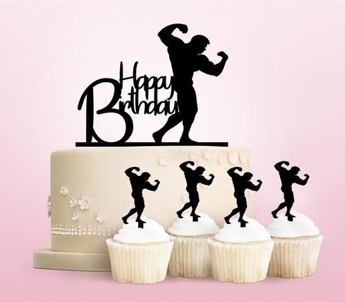 TC0079 Happy Birthday Bodybuilding Cake Cupcake Toppers Acrylique De Mariage Joyeux pour Gâteau Partie Décoration 11 Pièces